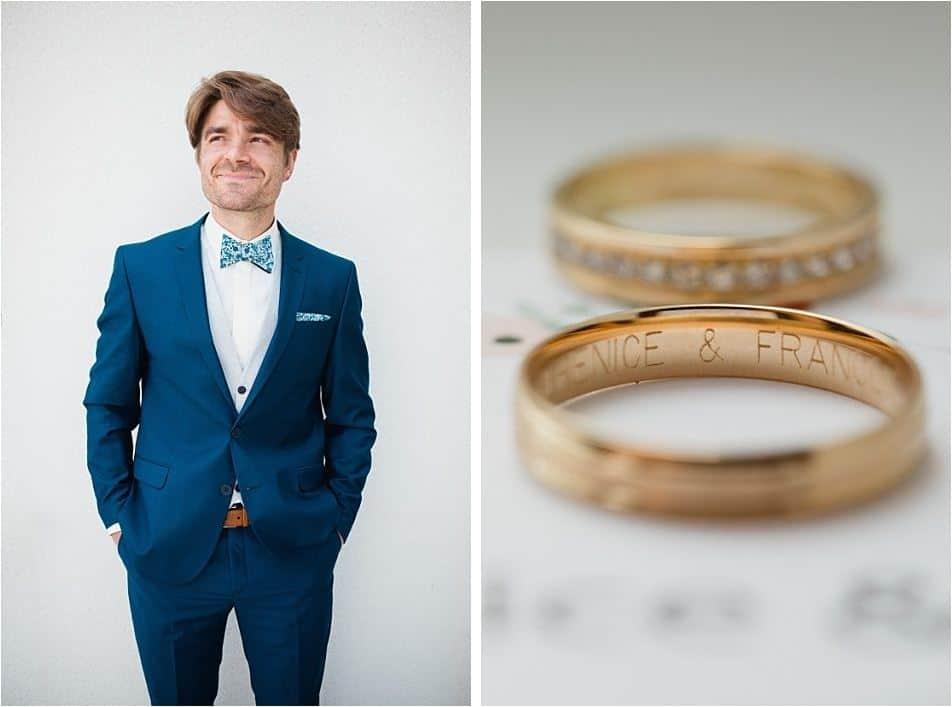 Composition tenu du marié et bagues