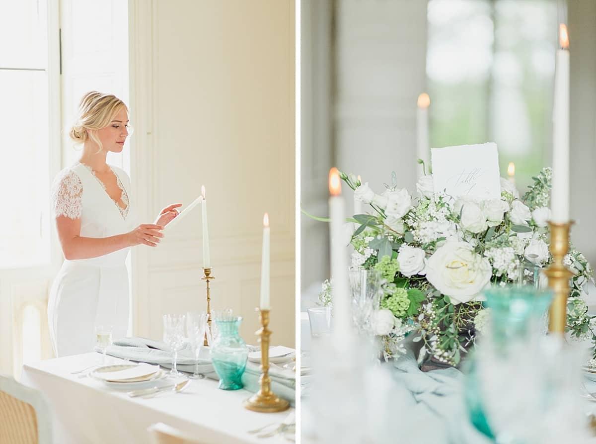 la mariée allume les bougies