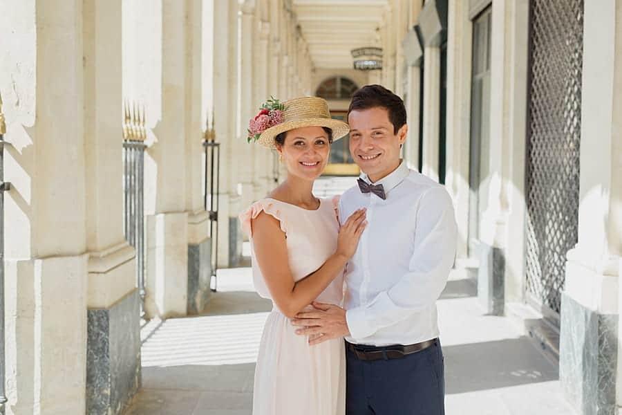 Séance couple au jardin du pavillon royal à Paris