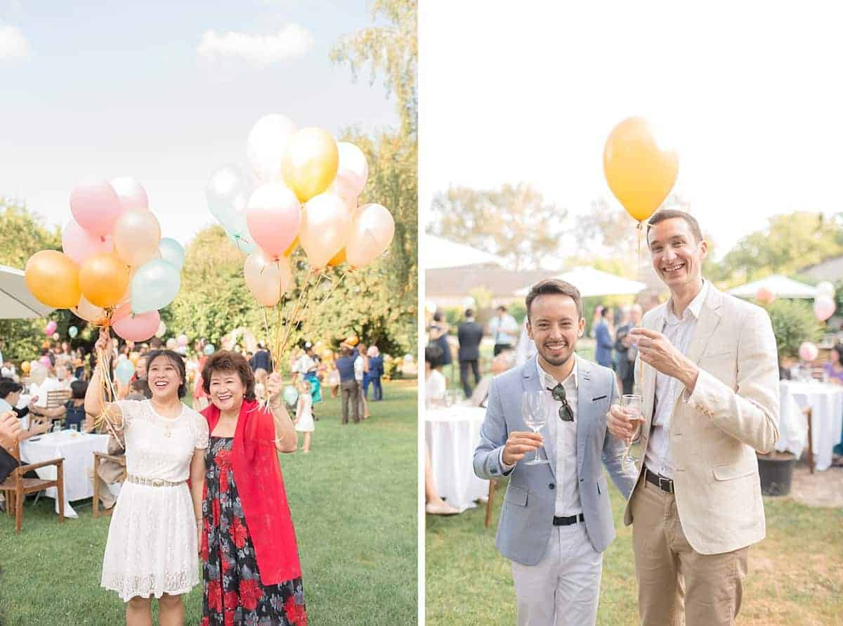 Champagne et ballons pour les invités