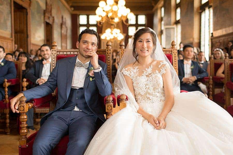 Les mariés émus
