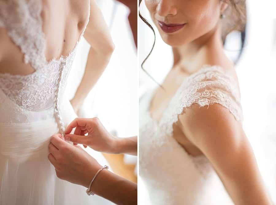 différents détails de la robe de mariée
