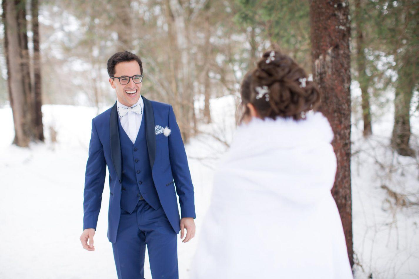 la première fois où les mariés se découvrent